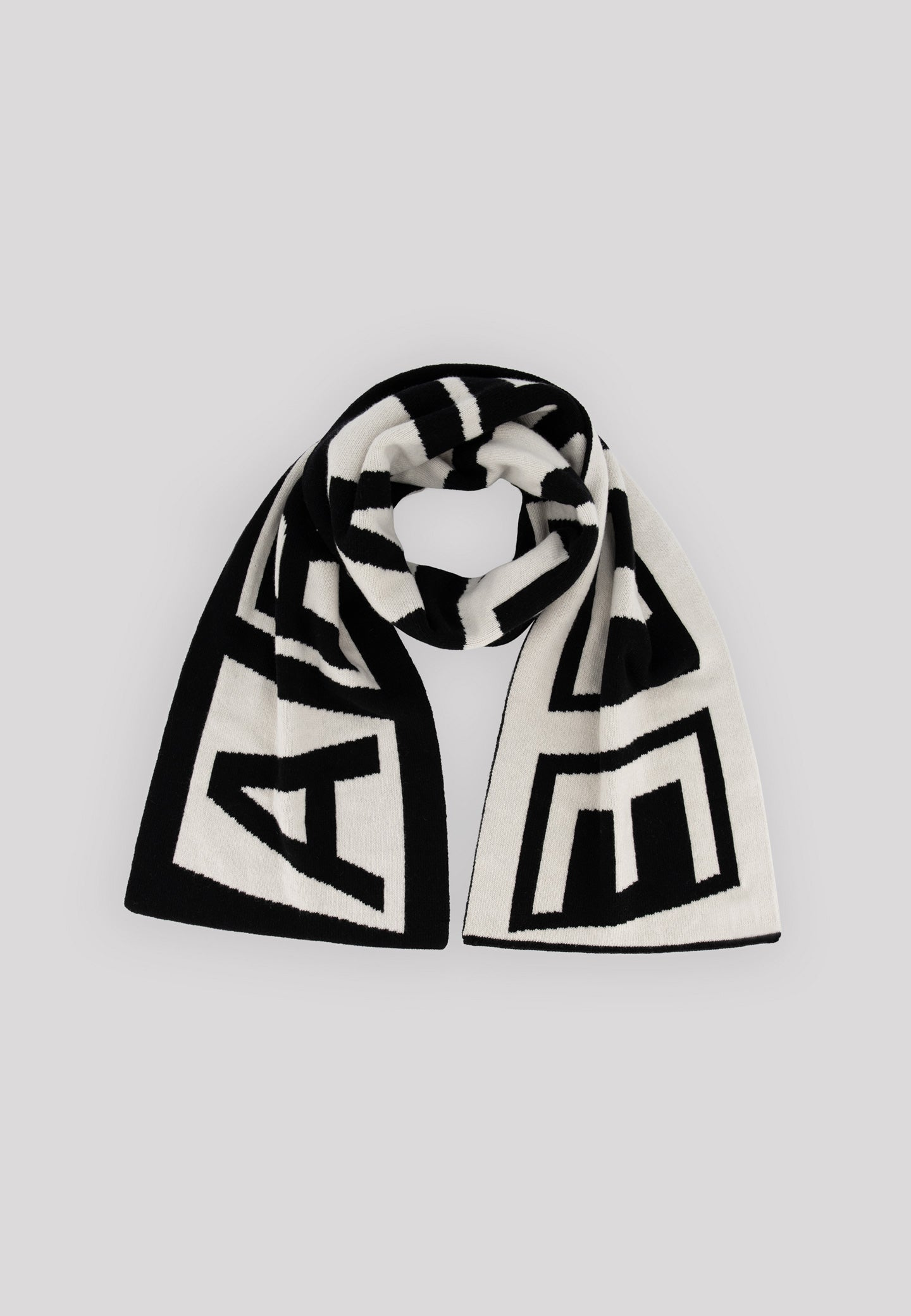 Aron Double Logo Scarf - Black/White