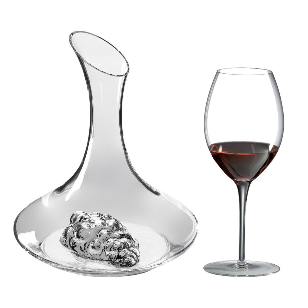 Grapes Decanter Gift Set (5 Pieces) with Free Luxury Satin Decanter and Stopper Bags and Microfiber Cleaning Cloth