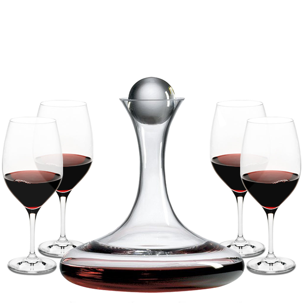 Vintner's Choice Decanter Gift Set with Free Luxury Satin Decanter and Stopper Bags and Microfiber Cleaning Cloth