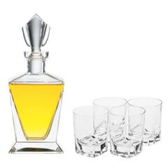 Beveled Orbital Decanter Gift Set with Free Luxury Satin Decanter and Stopper Bags and Microfiber Cleaning Cloth