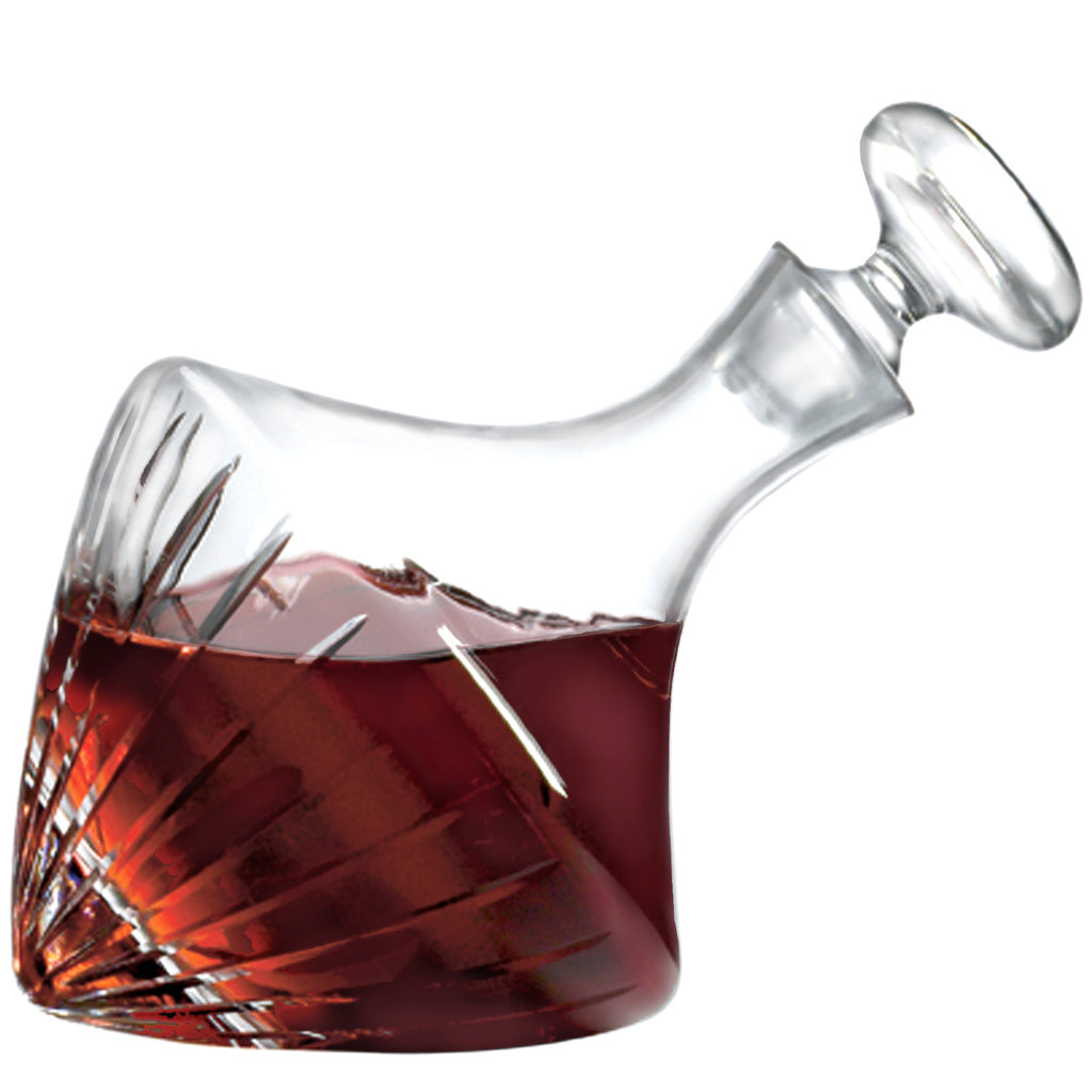 Beveled Orbital Magnum Decanter with Free Luxury Satin Decanter and Stopper Bags