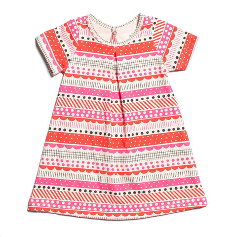 Winter Water Factory Adelaide Baby Dress in Geo Stripes Pink
