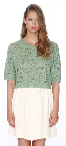 Pepa Loves Crop Pointielle Sweater in Mint