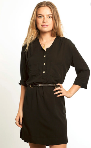 Cameo Short Shirt Dress in Black