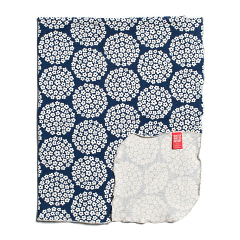 Winter Water Factory Lightweight Blanket in Flower Dots Navy