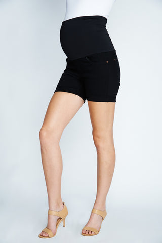 Maternal America Belly Support Denim Shorts in Black