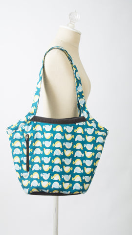 Suslik Handmade Bucket Bag in Blue Hens