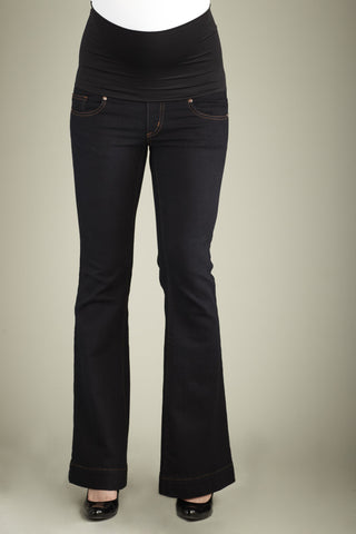 Maternal America Belly Support Boot Cut Jeans in Black