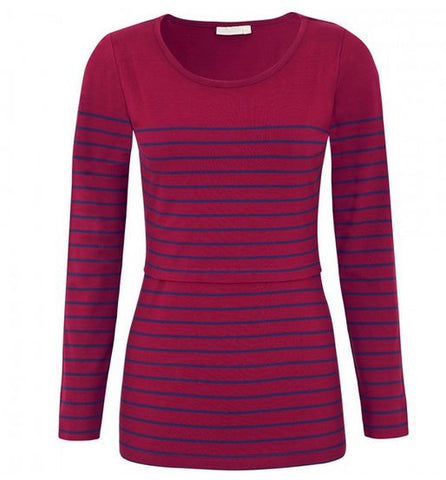 Jojo Maman Bebe Breton Feeding Top in Bordeaux and Navy Stripe
