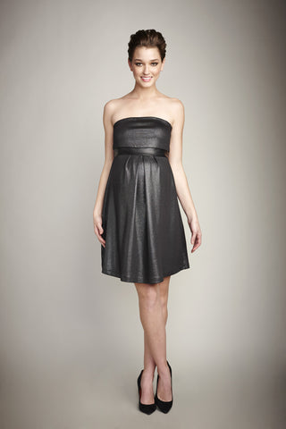 Maternal America Strapless Gunmetal Lurex Mini Dress with Vegan Leather Band