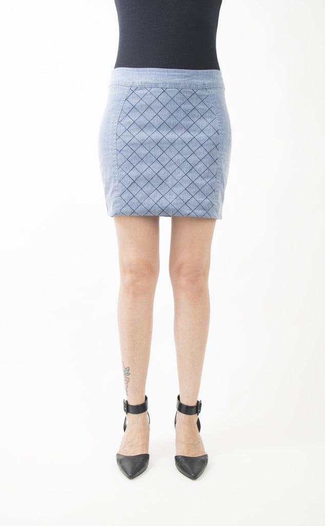 Corey Lynn Calter Dianne Blocked Denim Mini Skirt