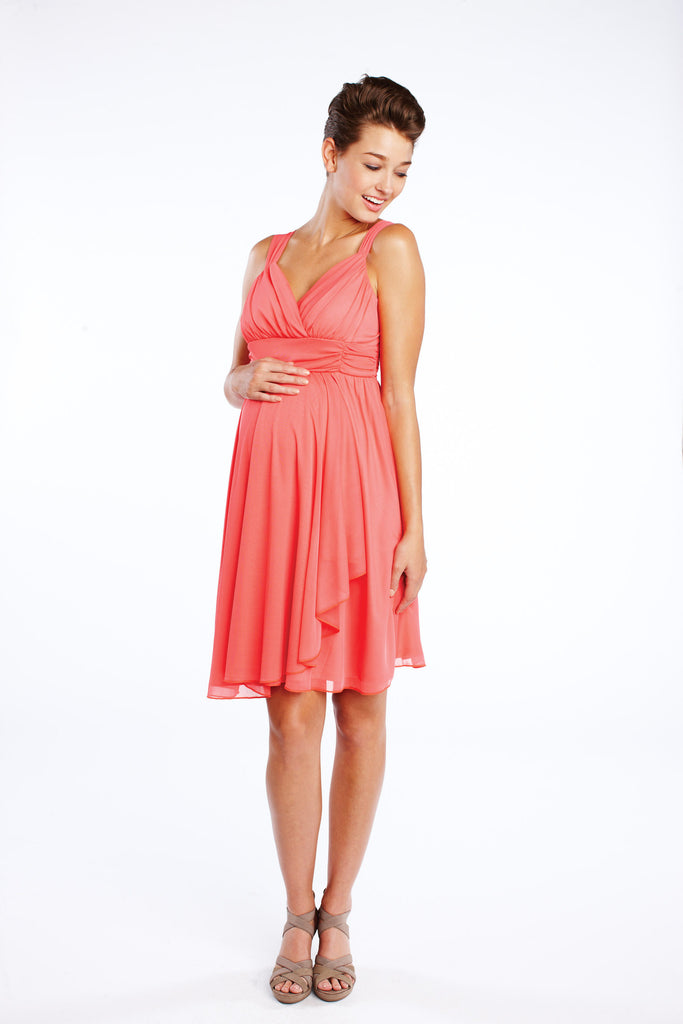 Maternal America Ruffle Faux Wrap Dress in Coral