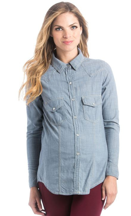 Lilac Clothing Heather Top in Denim