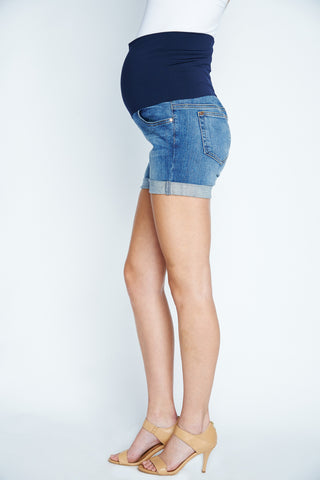 Maternal America Belly Support Denim Shorts in Classic Wash
