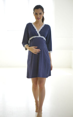 Belabumbum Dottie Kimono Dress in Navy Dot