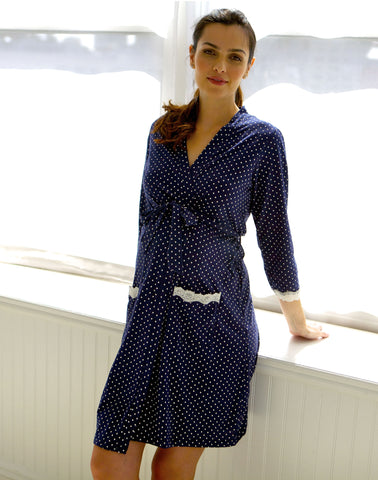 Belabumbum Dottie Robe in Navy Dot