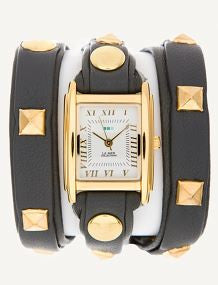 La Mer Grey & Gold Pyramid Stud Wrap Watch