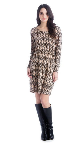 Lilac Clothing Shift Dress in Camel & Black Ikat