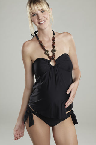Maternal America Wooden Bead Tankini in Black