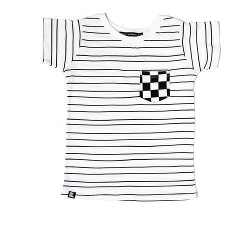 Mini & Maximus Stripe Checker Pocket Tee