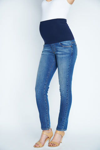 Maternal America Belly Support Skinny Jeans in Classic Wash