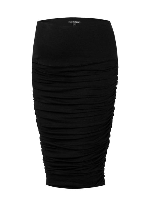 Isabella Oliver Midi Ruched Skirt in Caviar Black