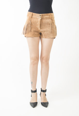 Plenty Leather Fringed Shorts in Adobe