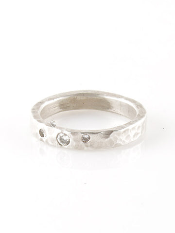 Sahlia Pounded Silver Band with Three Clear Diamonds