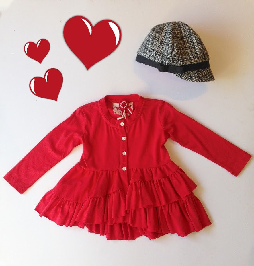Paper Wings Frilled Cardigan in Red