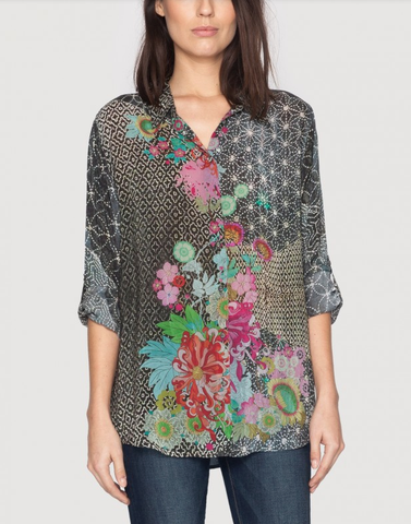 Johnny Was Tango Basic Long Sleeve Floral Top