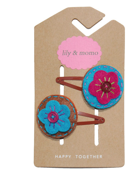 Lily & Momo Emma Hair Clip in Blue & Brown