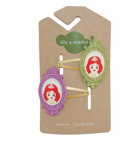 Lily & Momo Princess Cameo Hair Clips in Lilac & Green