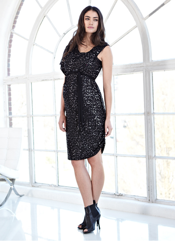 Isabella Oliver Maisy Sequin Dress in Caviar Black