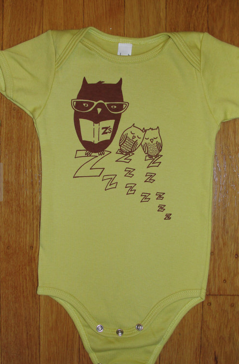 SweetPea & Pie ZZ Owl Onesie in Dijon