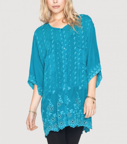 Johnny Was Eyelet Daisy Blouse in Lake