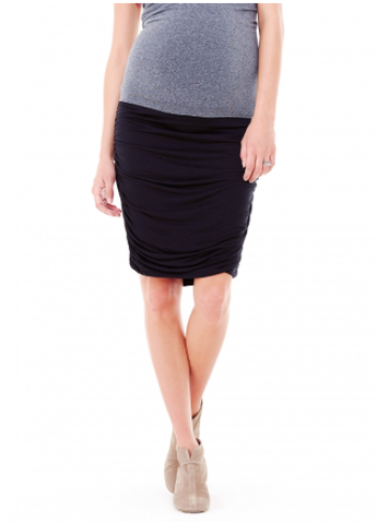 Ingrid & Isabel Shirred Pencil Skirt in Black