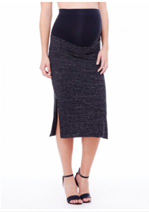 Ingrid & Isabel Side Slit Skirt in Black Marble