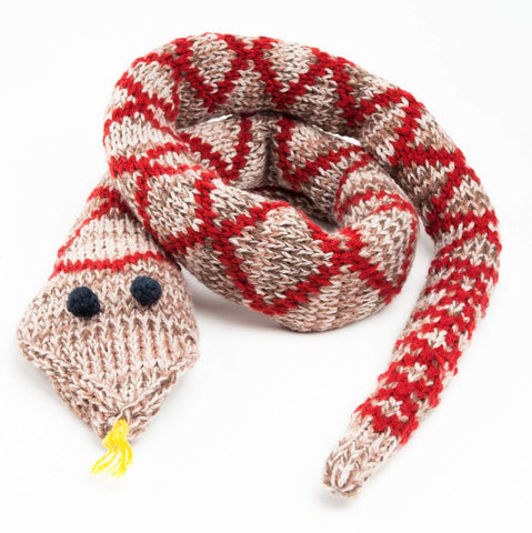 Peppercorn Kids Snake Scarf in Cherry and Oatmeal