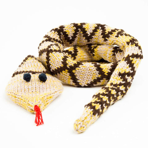 Peppercorn Kids Snake Scarf in Yellow Squash and Brown