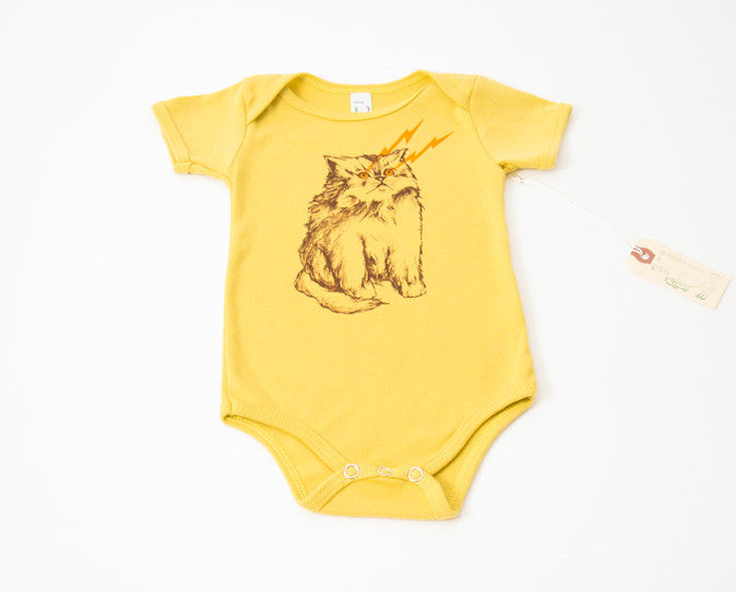 Sweetpea & Pie Cat Power Onesie in Mustard