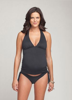 Ingrid & Isabel Ruched Tankini Top in Graphite