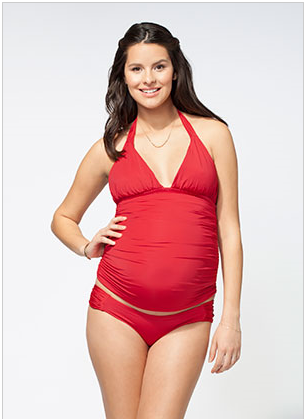 Ingrid & Isabel Ruched Tankini Top in Cherry