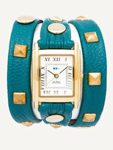 La Mer Teal & Gold Pyramid Stud Wrap Watch