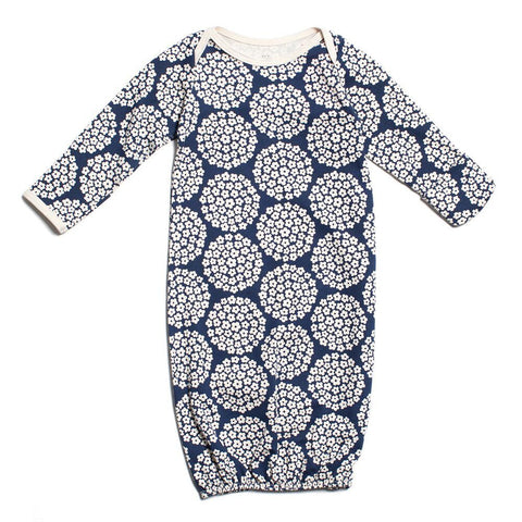 Winter Water Factory Baby Gown Flower Dots Navy