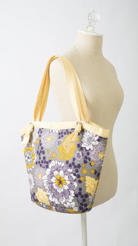Suslik Handmade Bucket Bag in Purple and Yellow Flowers
