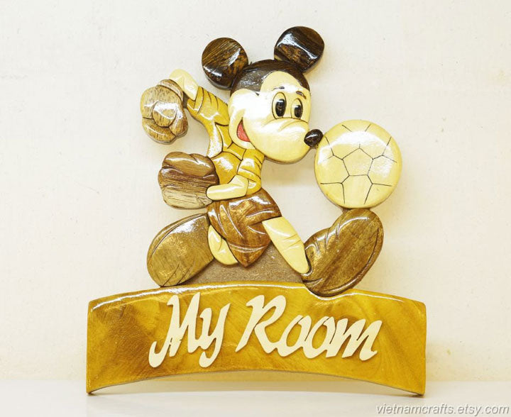 Mickey Soccer Wooden Sign