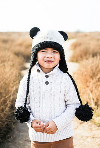 Hand Knit Panda Bear Pilot Hat
