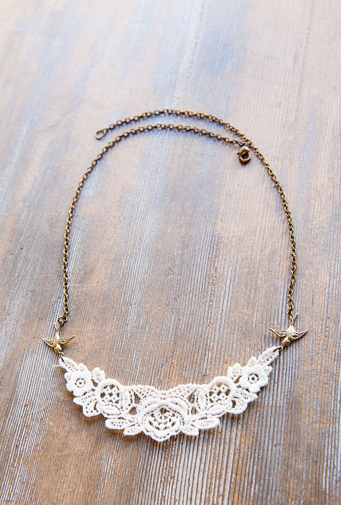 Swallow and Lace Bib Necklace