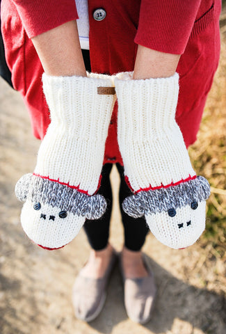 Sock Monkey Knit Mittens