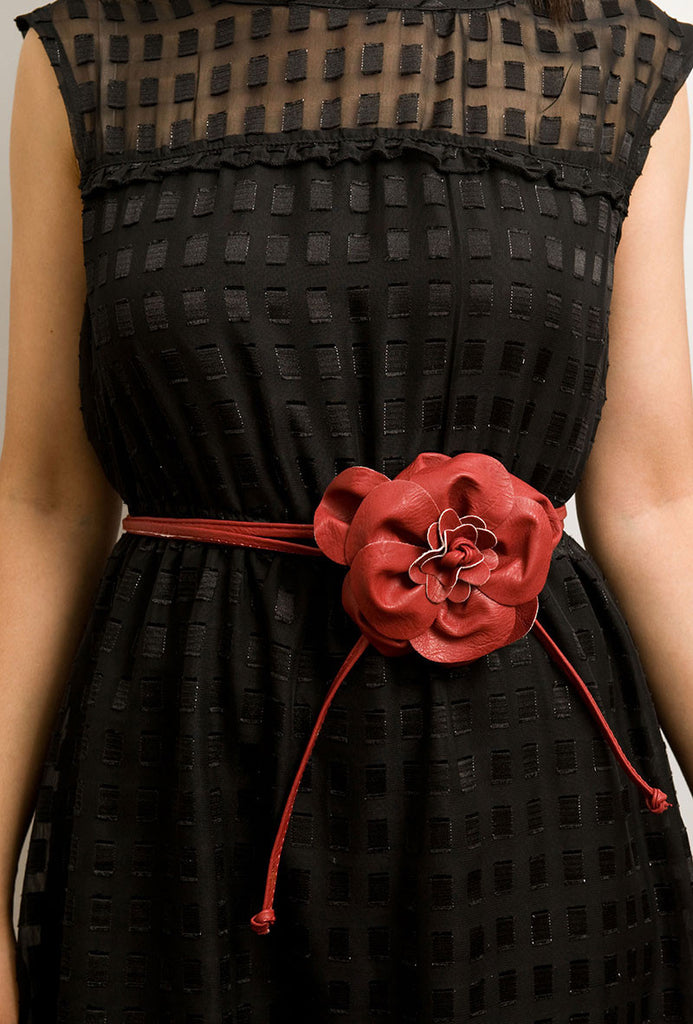 Flower Wrap Around Belt Red